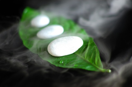 Hot spa stones and steam creating misty atmosphere