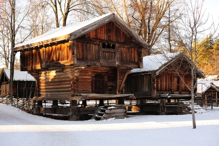 Old traditional Norwegian huts in Oslo Stock Photo