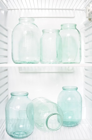 Refrigerator with glass jars photo