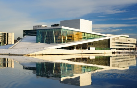 OSLO, NORWAY - JANUARY 4: Beautiful view from the fjord to the National Oslo Opera House on January 4, 2011 in Oslo, Norway