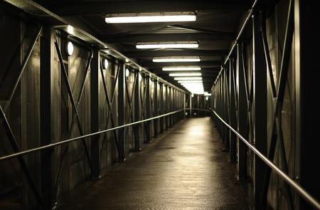 pedestrian walkway: Brightly lit pedestrian walkway