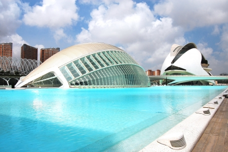 archtecture: VALENCIA, SPAIN - JULY 15: Bright blue scenery of the City of Arts and Sciences (one of the most outstanding examples of modern archtecture built for holding culture and science events by famous Spanish architect Santiago Calatrava) on July 15, 2009 in Va