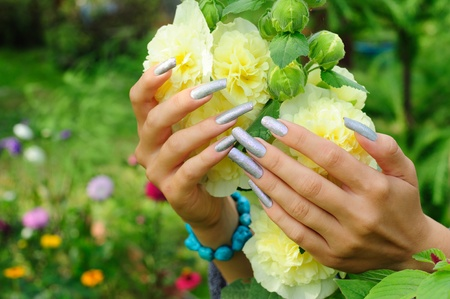 Silver manicure on actual long nails against hollyhock flower background