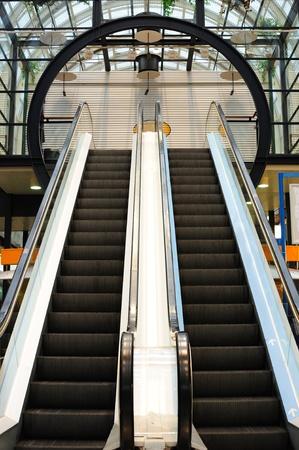 Two moving escalators Stock Photo