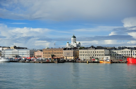 View of Helsinki harbor with cathedral Stock Photo