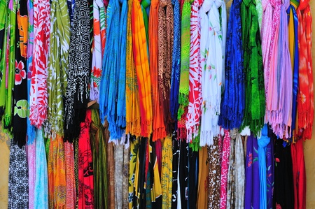 Multicolored kerchiefs in a Greek shop Stock fotó - 10945623