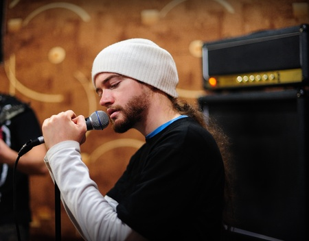 a rehearsal: Man singing on a rehearsal