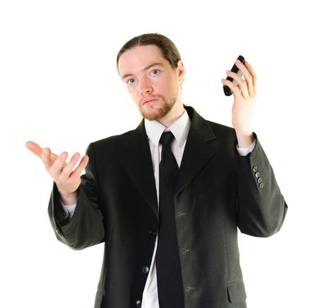 interruption: Businessman very irritated by interruption