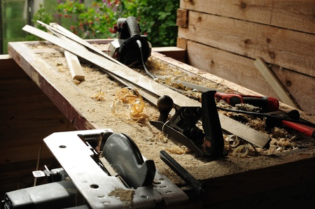 Work tools on the workbench set outdoors