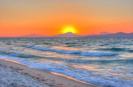 Coucher de soleil � la mer Eg�e Banque d'images