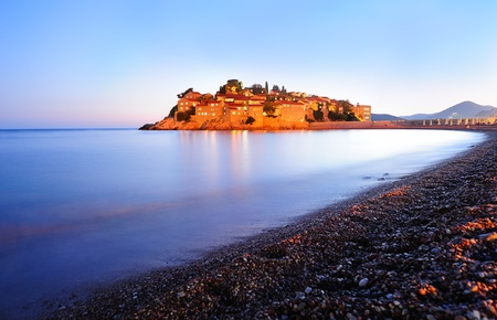 sveti: The island of Sveti Stefan at sunset