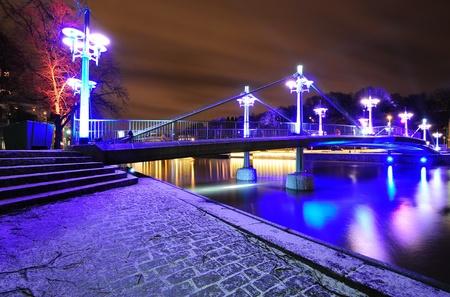 Night bridge over Aura river in Turku