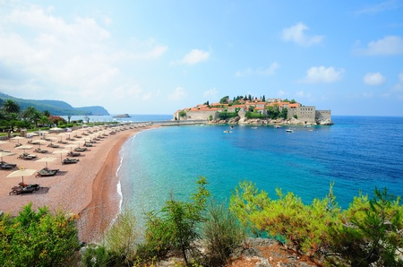 Sveti Stefan island with medieval architecture in Montenegro