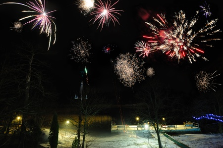 evening glow: Winter fireworks over the lake