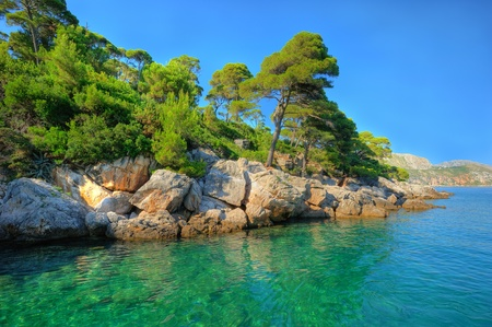 hdr: Gorgeous aquamarine scenery on the island Locrum near Dubrovnik, Croatia Stock Photo