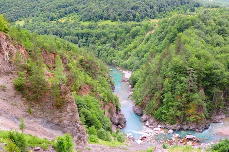 View to the canyon of the river Tara in Montenegro (second biggest canyon in the world and the biggest one in Europe) photo