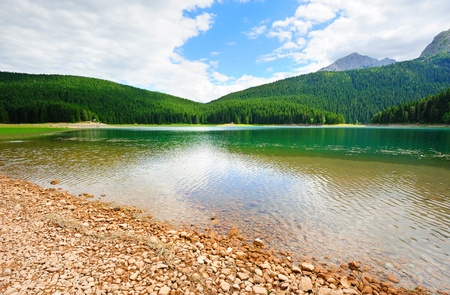 View to the glacial Black lake in the national park Durmitor in Montenegro