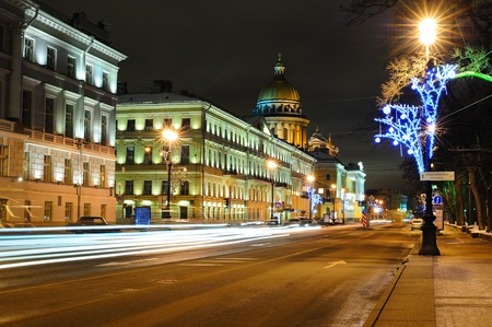 Street in Saint Petersburg near Saint Isaacs Cathedral photo