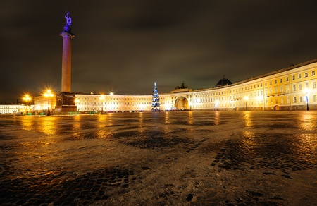 Palace square and Christmas tree in Saint Petersburg