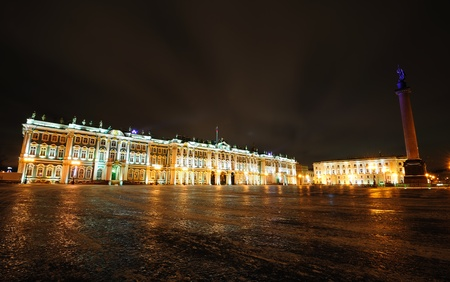 hermitage: Winter Palace and Alexander Column on Palace square in Saint Petersburg