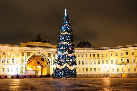 Christmas tree on Palace square in Saint Petersburg Editorial