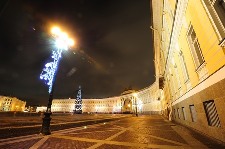 street lamps: Palace square and Christmas tree near General Staff Building in Saint Petersburg Editorial
