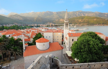 montenegro: Old town Budva in Montenegro - view to the square with Orthodox and Catholic churches