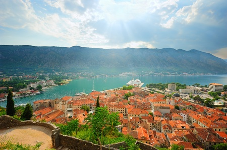 Ancient Kotor in sunset rays