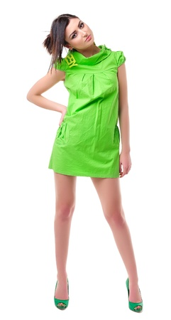 Beautiful young girl in bright lime-green dress Stock Photo - 12661857