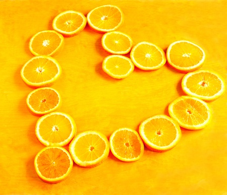 Heart made of orange rings photo