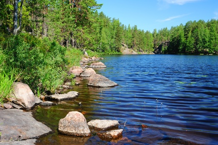 Beautiful forest lake in Finland Stock Photo