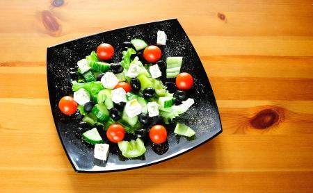 vegs: Fresh healthy Greek salad on a plate