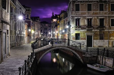 Venice on a thunderstorm night Editorial