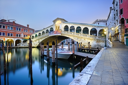 rialto bridge: Morning twilight Rialto Bridge in Venice Editorial