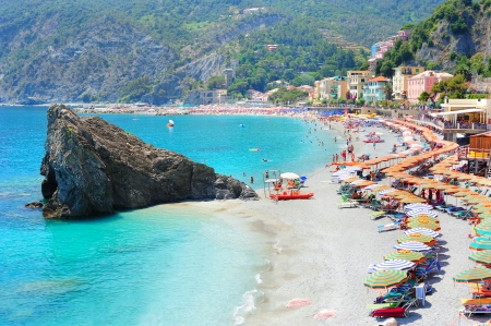 Beach in Italian village Monterosso in the national park of Cinque Terre