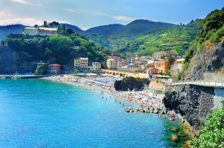 Picturesque scenery with beach in Monterosso al Mare (Cinque Terre, Italy)