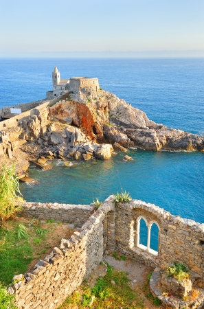 Beautiful scenery with the church of St. Peter in Porto Venere, Italy