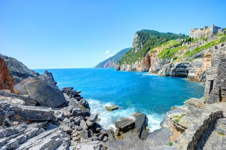 Byron's cave (or Byron's Grotto) in the Gulf of Poets in Porto Venere, Italy