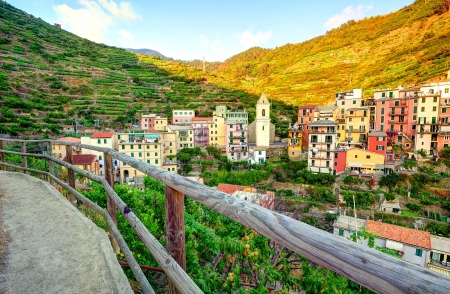 Panoramic view of Manarola village (Cinque Terre, Italy) Stock Photo