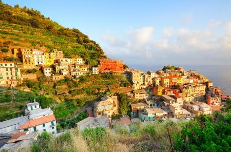 italian village: Bright and vivid sunset painting multicolored houses in Manarola village (Cinque Terre, Italy) Stock Photo