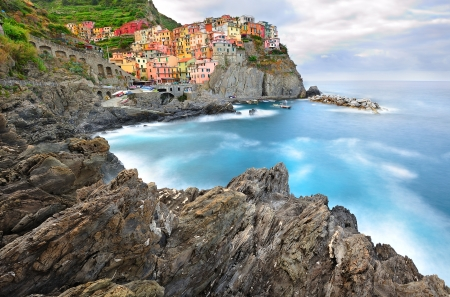 Manarola landscape in cold morning colors (Cinque Terre, Italy)