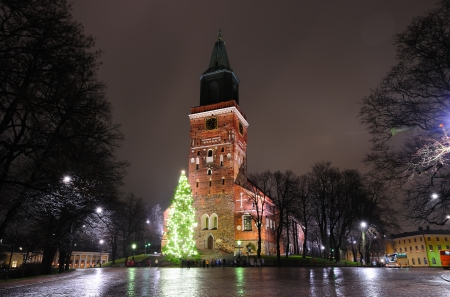 Christmas tree on cathedral square in Turku, Finland Stock Photo