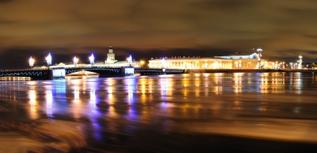 St. Petersburg Christmas panorama with the Neva river and the old Stock Exchange Stock Photo