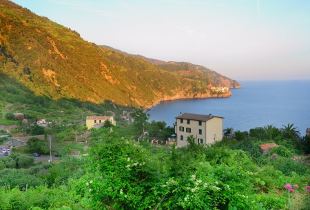 Sunset landscape of Monterosso (Cinque Terre, Italy) photo