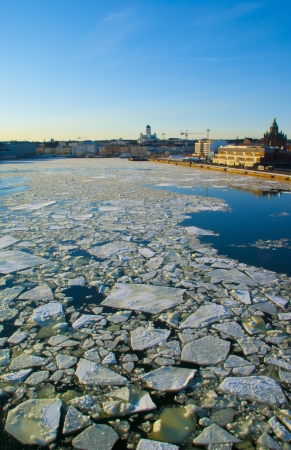 View of Helsinki in ice drift time photo