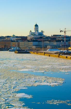 Helsinki landscape with Tuomiokirkko in ice drift time photo