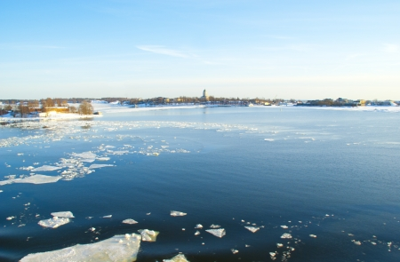 Ice drift in the Baltic sea in springtime photo