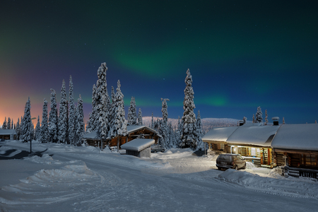 Northern lights in Lapland, Kuusamo, Finland Фото со стока