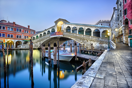 venice italy: Morning twilight Grand canal and Rialto Bridge in Venice, Italy Stock Photo