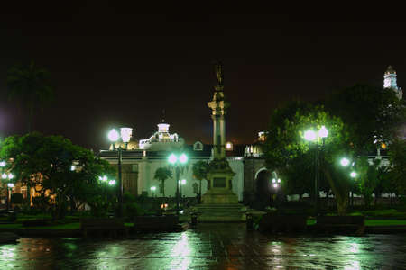 Liberty Statue, Plaza de la Independencia at night. Quito. Ecuador. South America photo